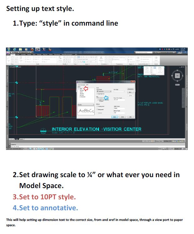 autocad text setup