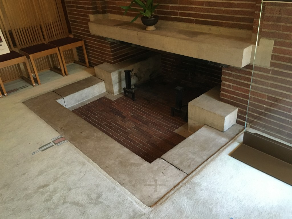 "Fireplace here, featuring a ""room within a room"""