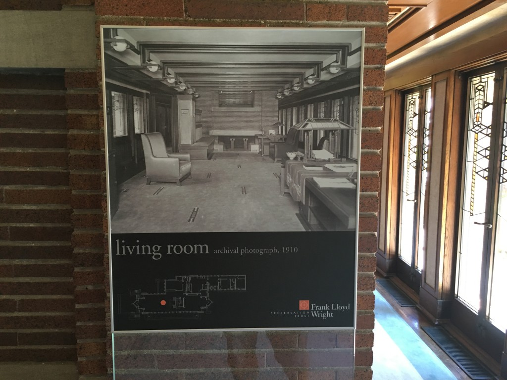 Photo of original living room at Robie House.
